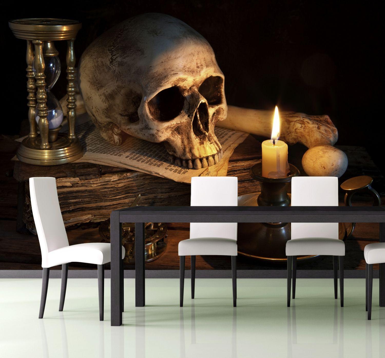 xxl poster fototapete vlies tapete gothic totenkopf ebay. Black Bedroom Furniture Sets. Home Design Ideas