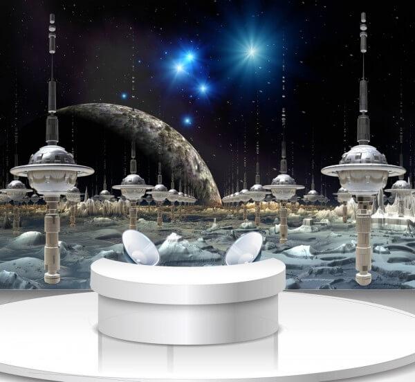 Vlies Tapete Poster Fototapete Science-Fiction Weltraum Stadt Ufo
