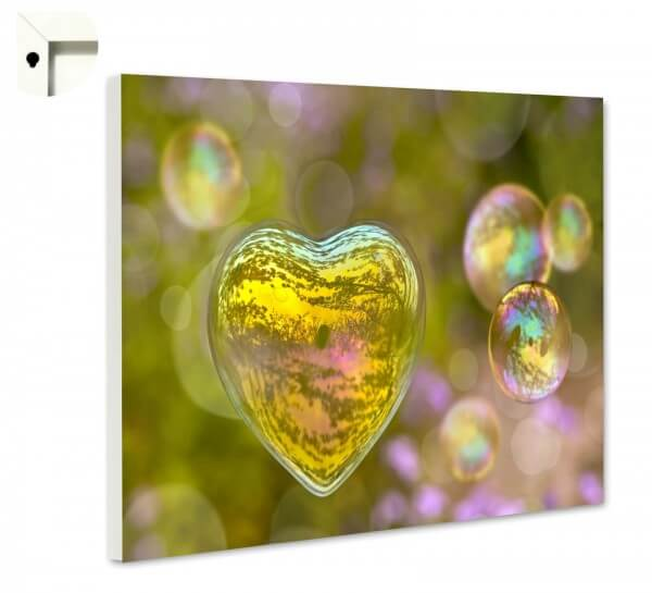 Magnettafel Pinnwand Seifenblasen Herz Natur
