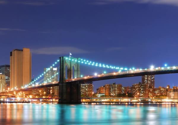 Poster Fototapete Städte New York City Brooklyn Bridge