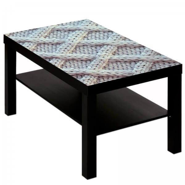 Couchtisch Tisch mit Motiv Bild Muster Strickmuster Maschen Wolle 5