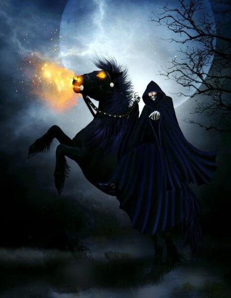 Leinwand Bild edel Fantasy Gothic Dunkle Macht Gevatter Tod