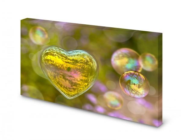 Magnettafel Pinnwand Bild Natur Seifenblase Herz grün gekantet