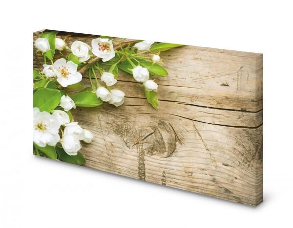 Magnettafel Pinnwand Bild Apfelblüten auf Holz gekantet XXL