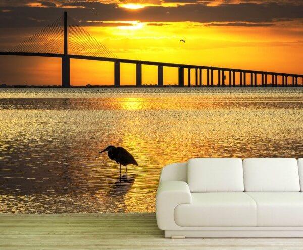 Vlies Tapete Fototapete Brücke Meer Sonnenuntergang Möwe