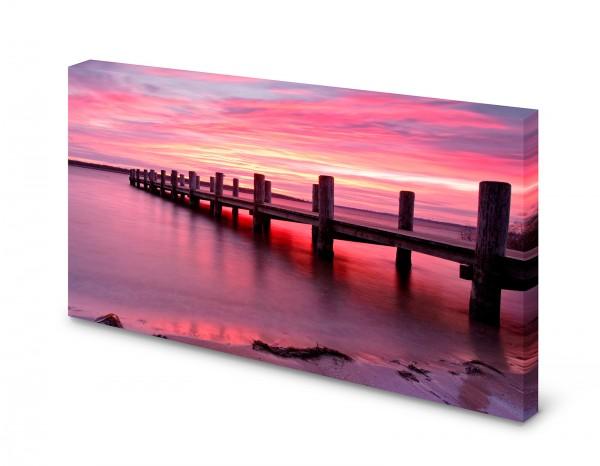 Magnettafel Pinnwand Bild Steg See Meer Morgenrot Natur gekantet