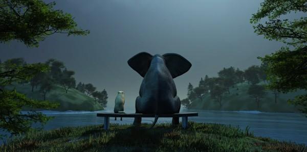 Magnettafel Pinnwand Bild XXL Panorama Elefant Hund Nacht See