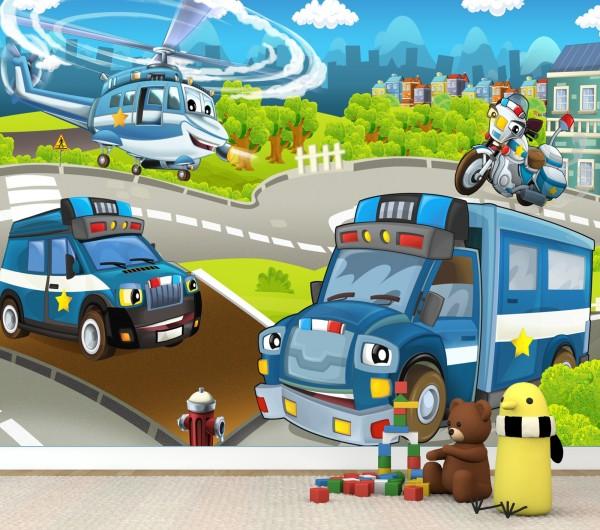 Vlies Tapete Poster Fototapete Kinderzimmer Polizei Hubschrauber