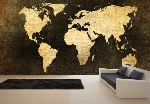 Vlies Tapete XXL Poster Fototapete Weltkarte Kontinente