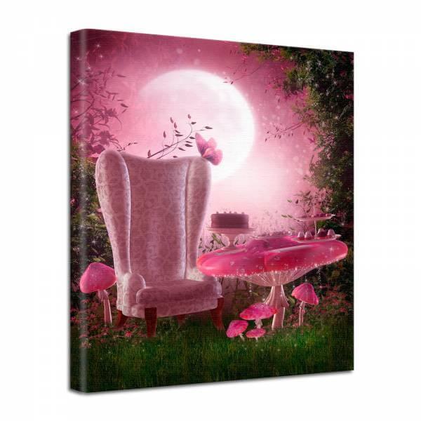Leinwand Bild edel Fantasy Feensessel in rosa