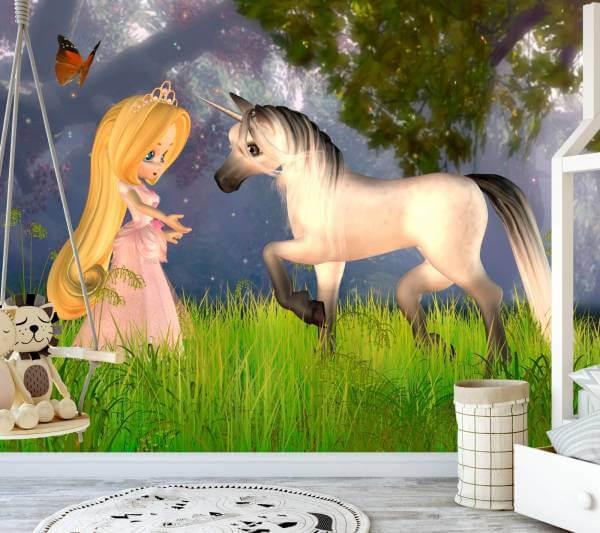 Vlies Tapete Poster Fototapete Kinderzimmer Prinzessin Einhorn