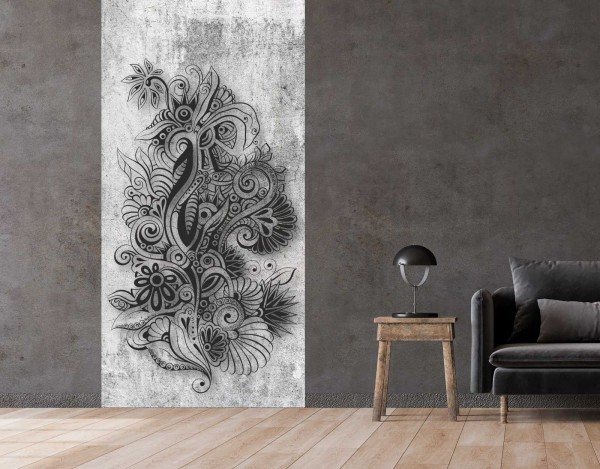 Vlies Tapete Betonoptik Poster Fototapete Tribal Flower Muster