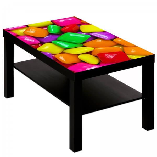 Couchtisch Tisch mit Motiv Bild Candy knallbunt 1