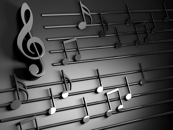Vlies Tapete Fototapete 3D Effekt Noten Violinenschlüssel