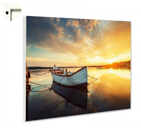 Magnettafel Pinnwand Natur Boot See Sonnenuntergang