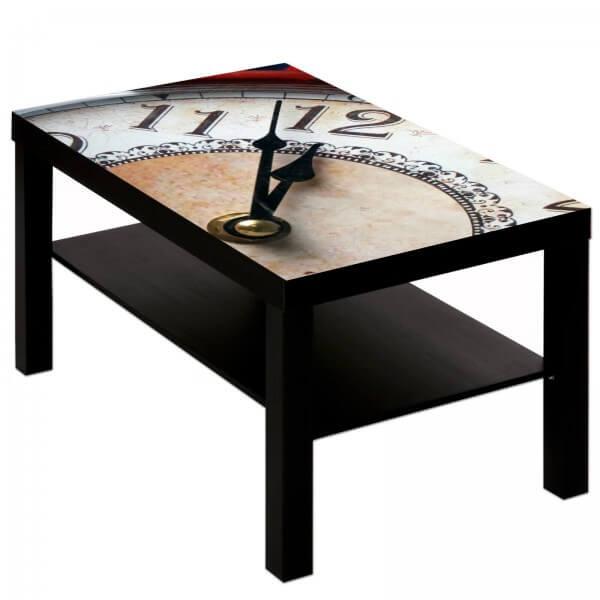 Couchtisch Tisch mit Motiv Bild Uhr Ziffernblatt Antik