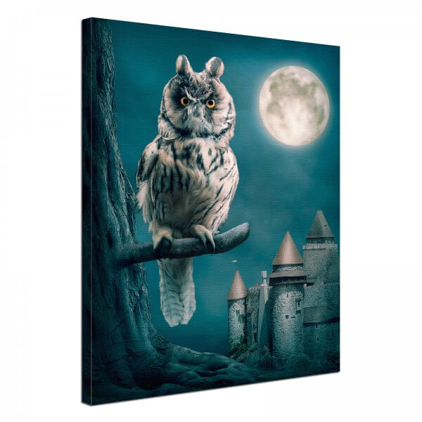 Leinwand Bild edel Fantasy Gothic Uhu & Vollmond