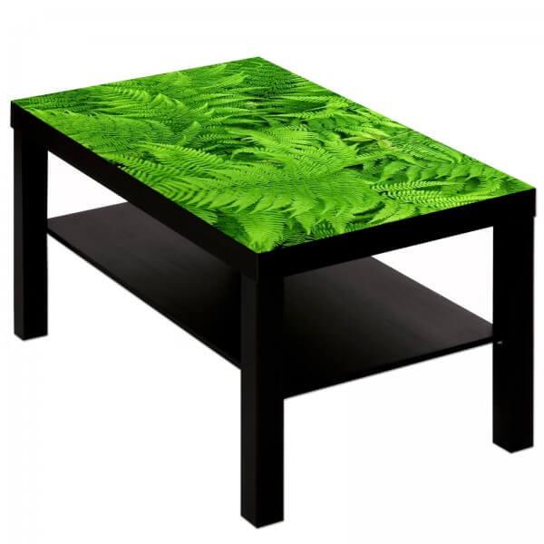 Couchtisch Tisch mit Motiv Bild Natur grün hell Farn Muster