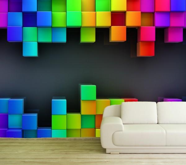 Vlies Tapete Poster XXL Fototapete 3D Effekt Muster Würfel bunt pop