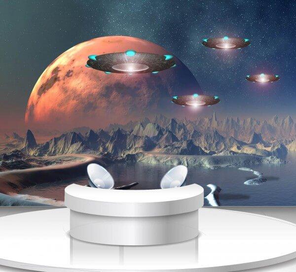 Vlies Tapete Poster Fototapete Science-Fiction Ufo Planet