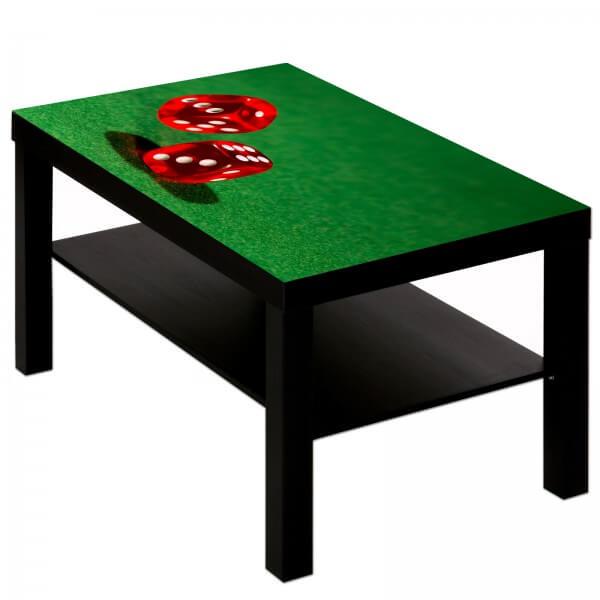 Couchtisch mit Motiv Casino Poker Würfel rot auf grün