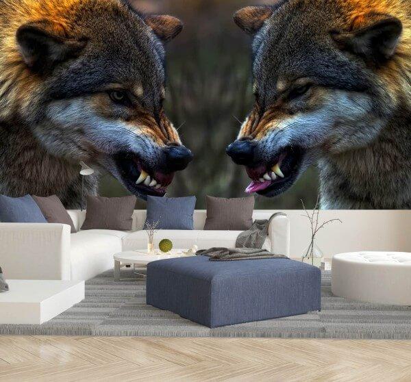Vlies Tapete XXL Poster Fototapete Panorama Wolf Wölfe