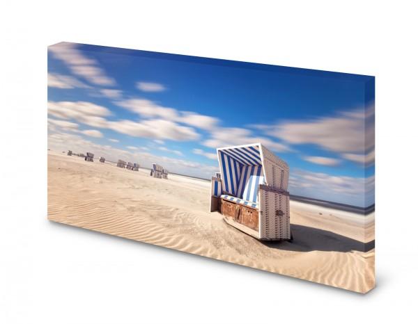 Magnettafel Pinnwand Bild Natur Strandkorb Sonne Strand gekantet