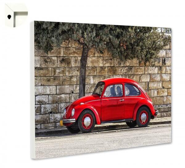 Magnettafel Pinnwand mit Motiv Oldtimer Retro VW Käfer rot