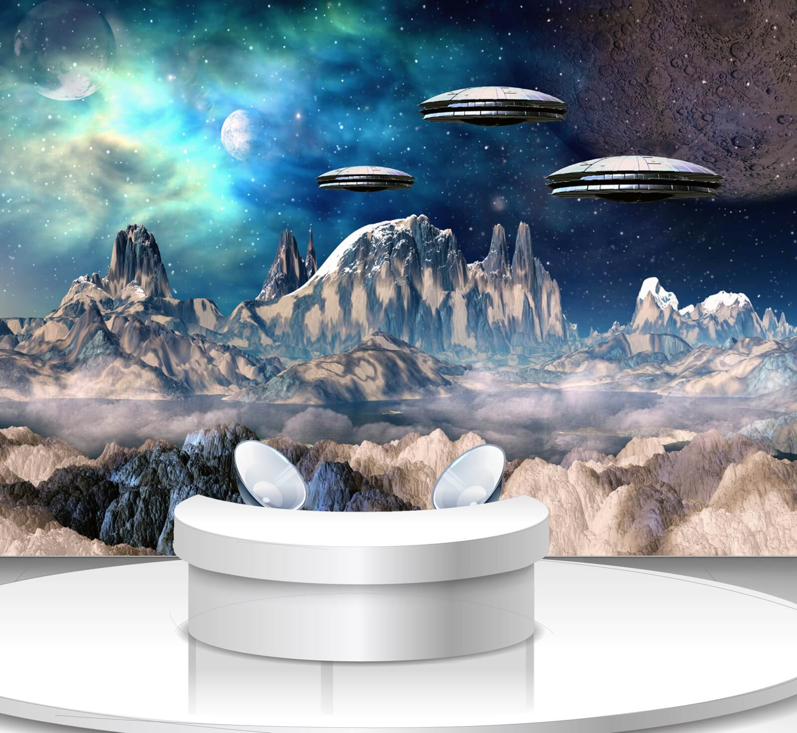 Vlies Tapete Poster Fototapete Science-Fiction Weltraum Ufo