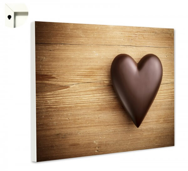 Magnettafel Pinnwand Küche Herz aus Schokolade auf Holz
