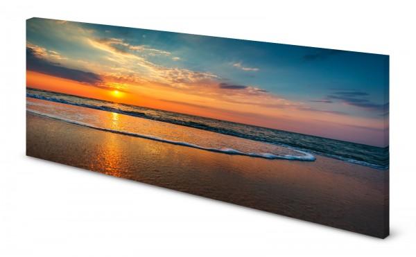 Magnettafel Pinnwand Bild Strand Sonnenuntergang Wasser Wellen gekantet