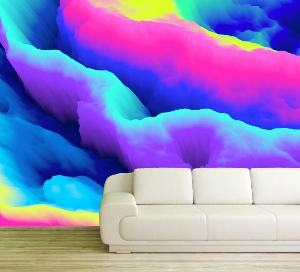 Vlies Tapete Fototapete 3D Muster Wolken Nebel bunt Farben