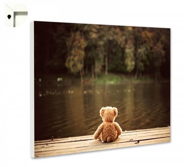 Magnettafel Pinnwand mit Motiv Teddy Bär am See