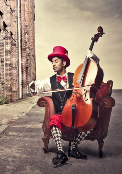 Poster Fototapete Cello Clown