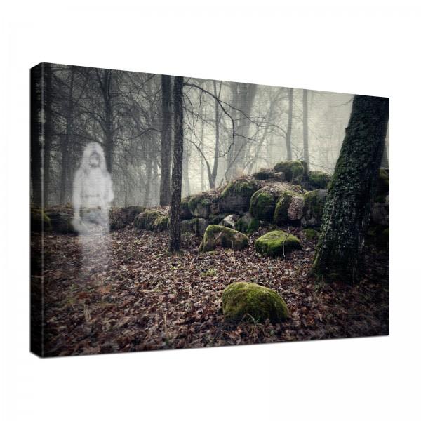 Leinwand Bild edel Gothic Fantasy black Ghost Girl