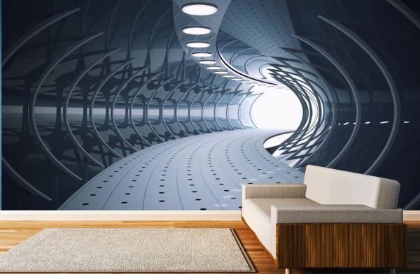 Vlies Tapete Poster XXL Fototapete 3D Tunnel abstrakt grau futuristisch