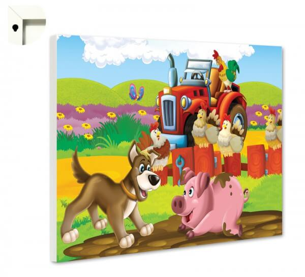 Magnettafel Pinnwand Kinder roter Traktor Bauernhof