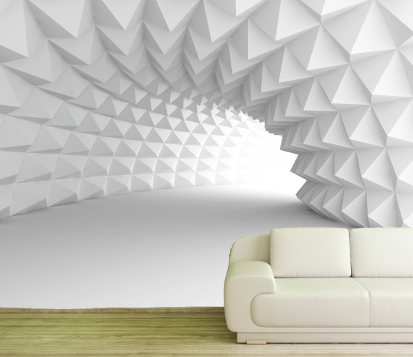 Vlies Tapete Poster XXL Fototapete 3D Effekt Muster weiss Würfel Tunnel
