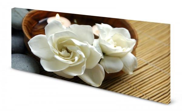 Magnettafel Pinnwand Bild Blumen Rose weiß Wellness gekantet