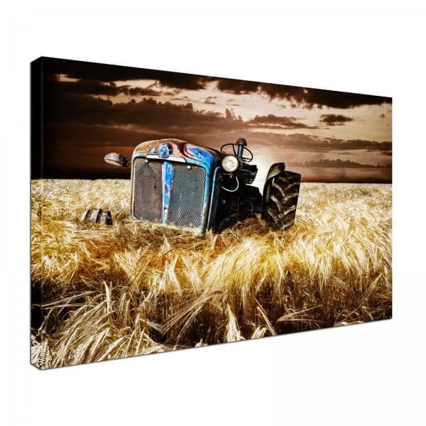 Leinwand Bild edel Traktor im Feld
