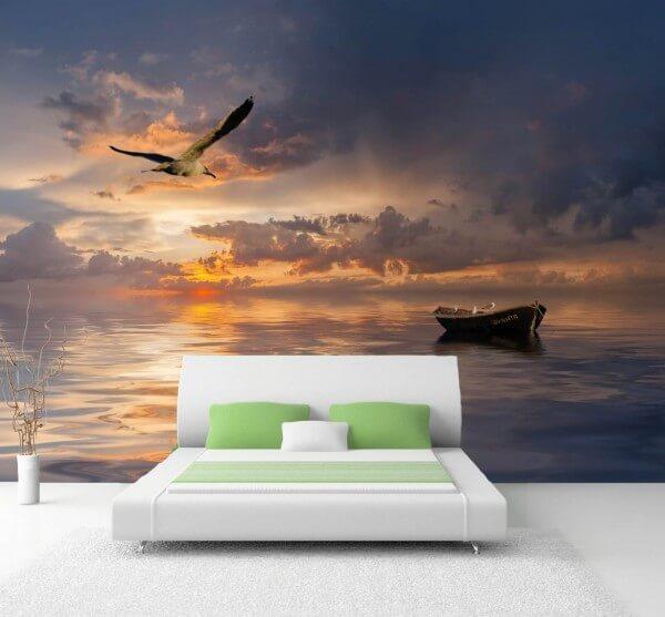 XXL-Poster Fototapete Tapete Vlies Natur Ruder Boot und Möwe Horizont am Meer