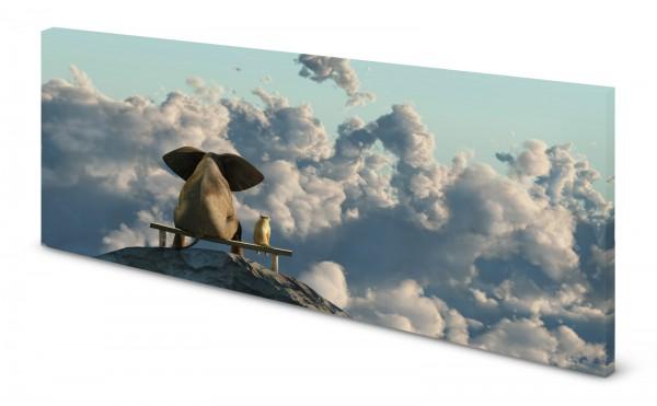 Magnettafel Pinnwand Bild Elefant Hund Freundschaft Gipfel Wolken gekantet