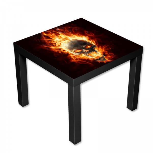 Beistelltisch Couchtisch mit Motiv Totenkopf Hell Flammen