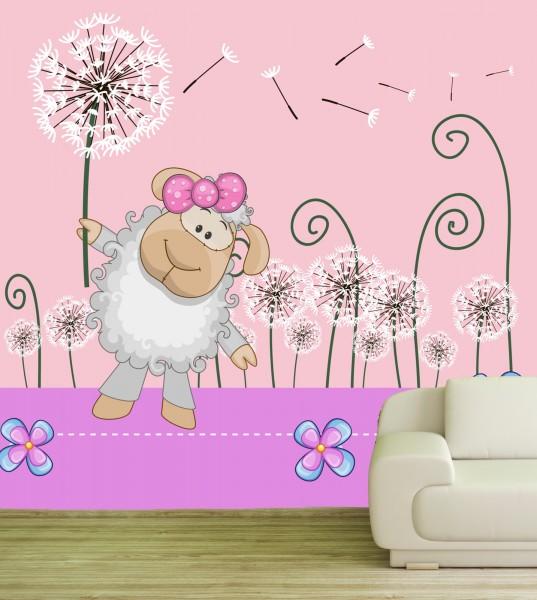 Vlies Tapete Fototapete Kinderzimmer Schaf Pusteblume rosa