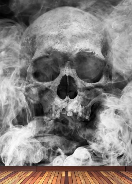 Vlies Tapete XXL Poster Fototapete Totenkopf Schädel Rauch