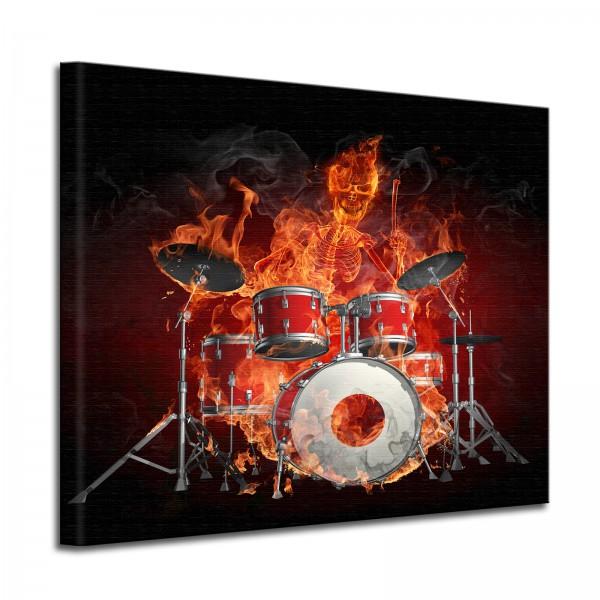 Leinwandbild Burn Brennendes Skelett mit Schlagzeug