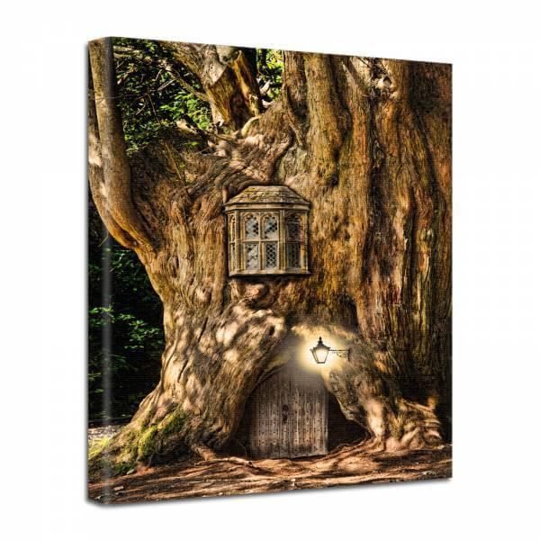 Leinwand Bild edel Fantasy Baum Haus