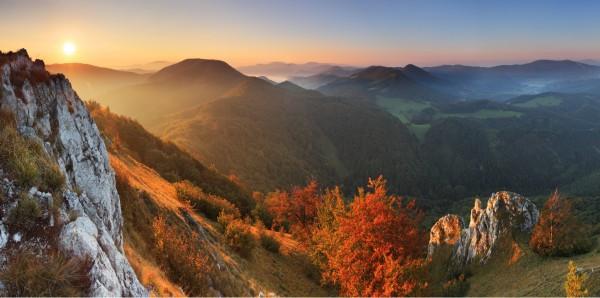 Magnettafel Pinnwand XXL Magnetbild Bergpanorama Herbst