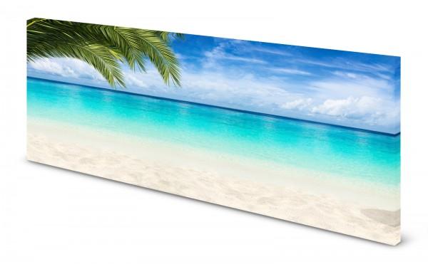 Magnettafel Pinnwand Bild Palmen Karibik Strand Meer gekantet