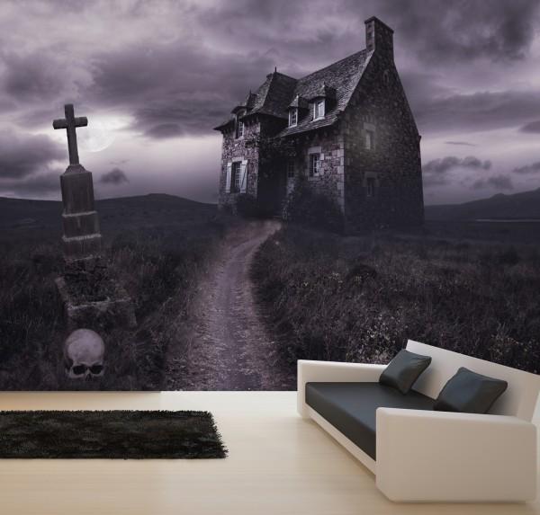 Vlies Tapete XXL Poster Fototapete Lost Place Haus Friedhof Kreuz